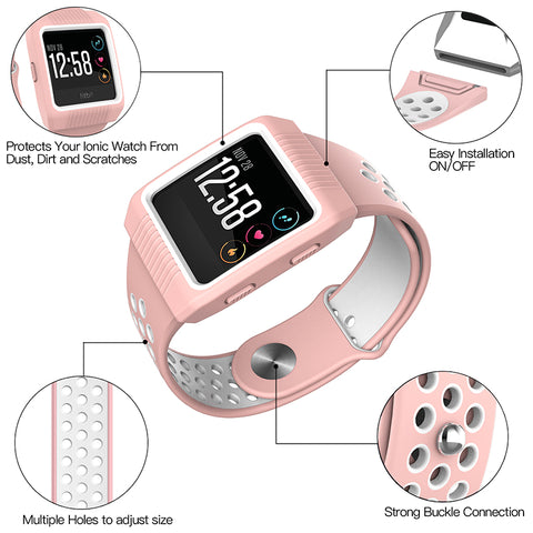 Accessories Set With Silicone Sport Band And Protective Case Cover for Fitbit Ionic Smart Watch