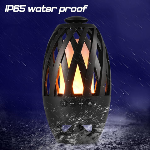Wireless Bluetooth Speaker with LED Flame Lamp - Waterproof Stereo Bass Speaker