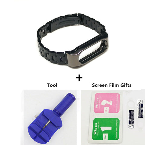 Metal Wrist Strap For Xiaomi Mi Band 2 Screwless Stainless Steel Wrist Band Smart Bracelet Accessories For Miband 2 Plus