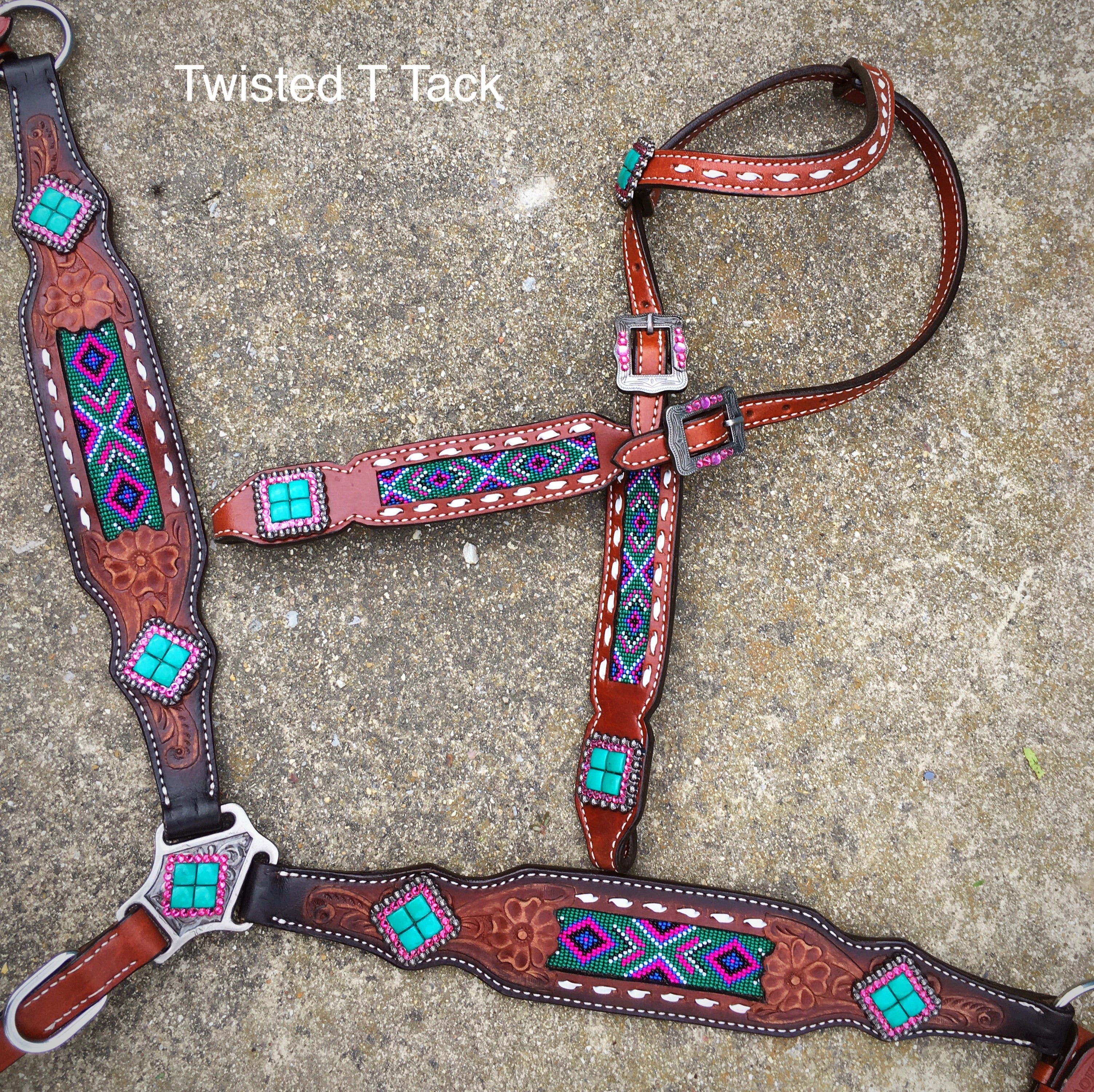 Teal And Pink Beaded Tack Set Twisted T Tack