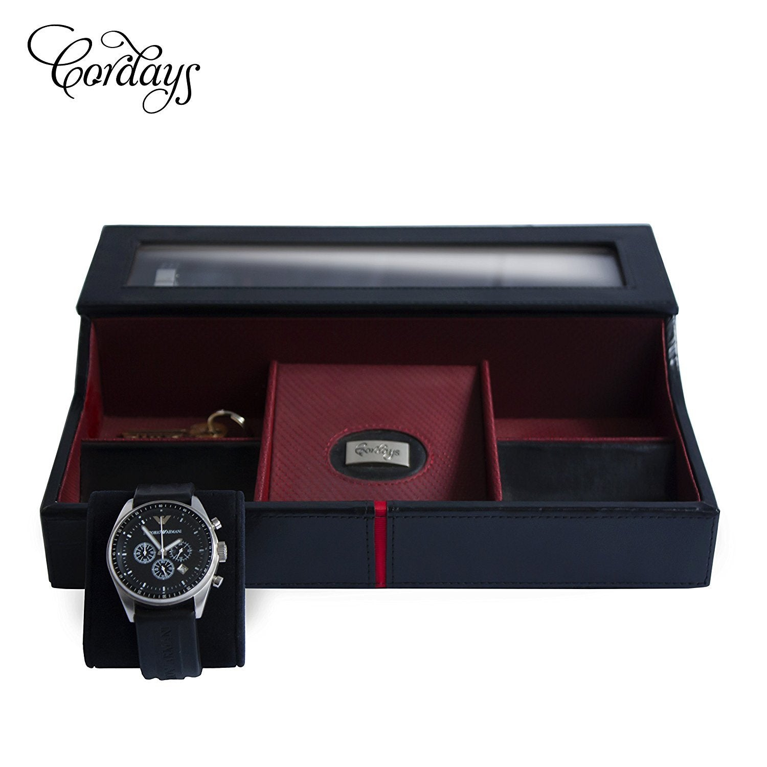 Deluxe Watch Box & Desk Valet in Black Genuine Leather