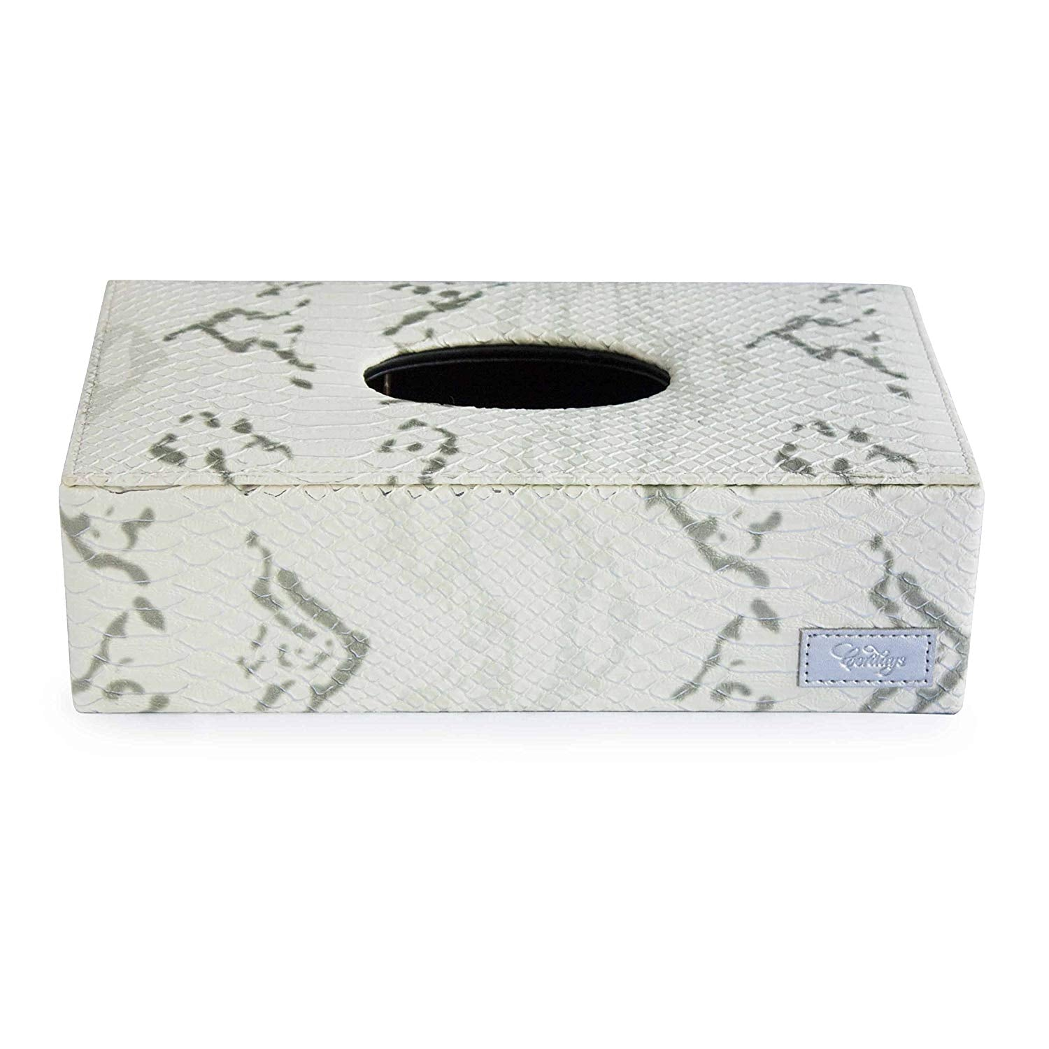 Tissue Box Cover in Ivory Textured Leatherette