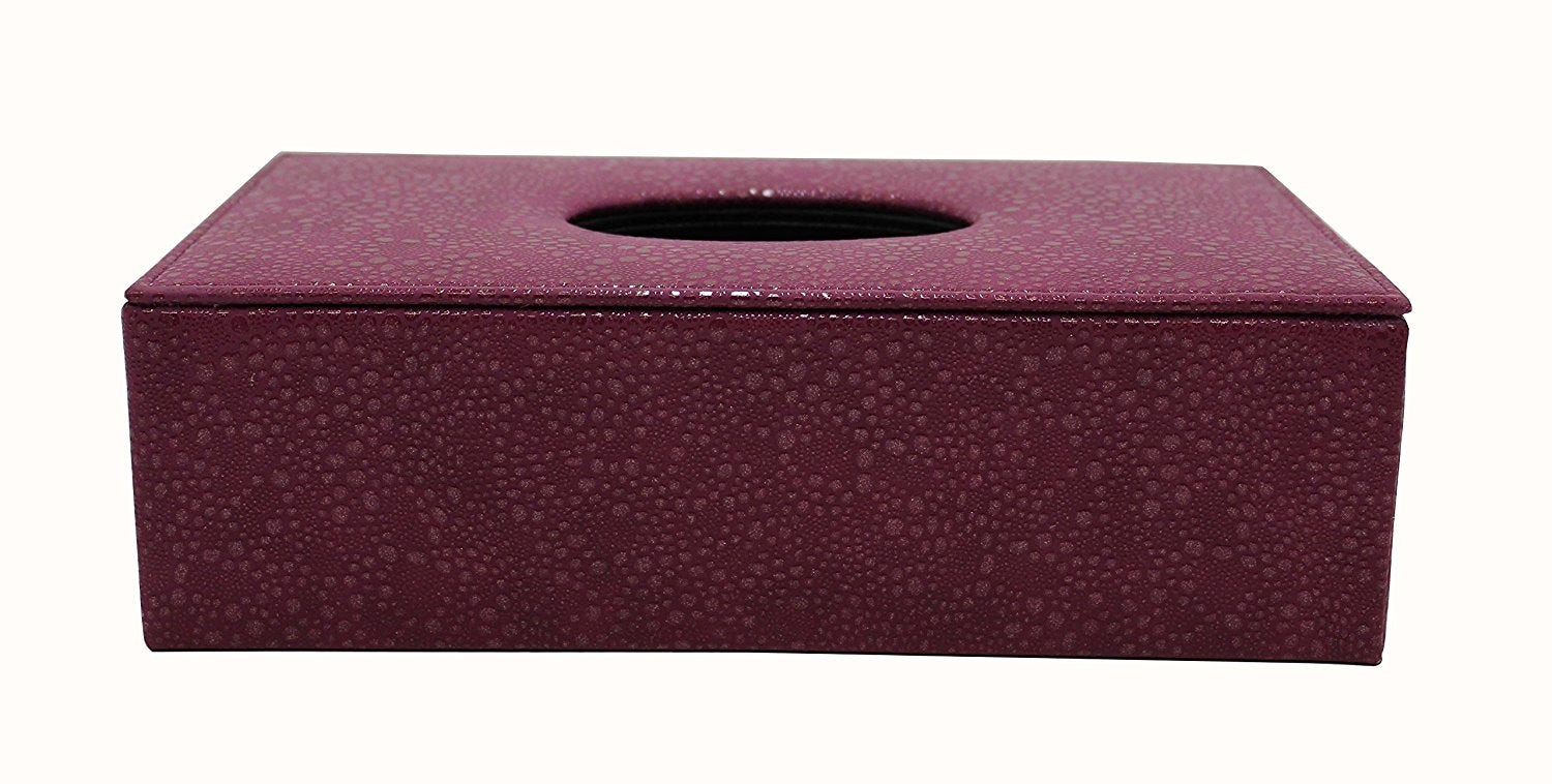 Tissue Box Cover in Fuschia Textured Leatherette