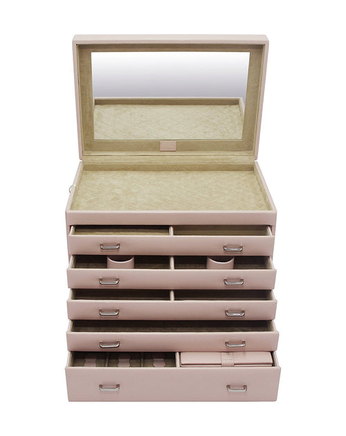 Extra Large Jewellery Dresser Box in Pink Vegan Leather