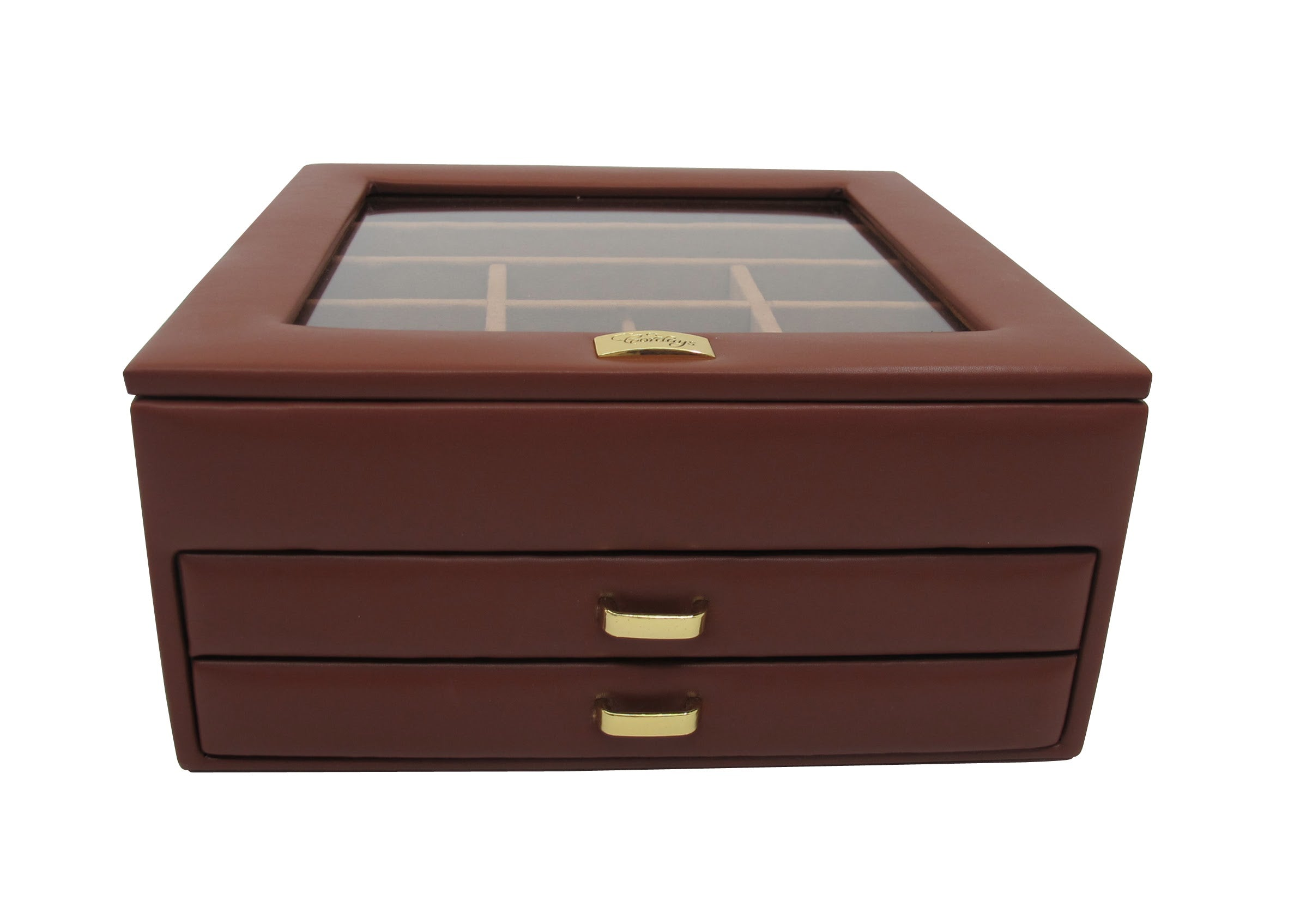 Handcrafted Jewellery Box Premium Quality with 2 Drawers Top Glass Lid
