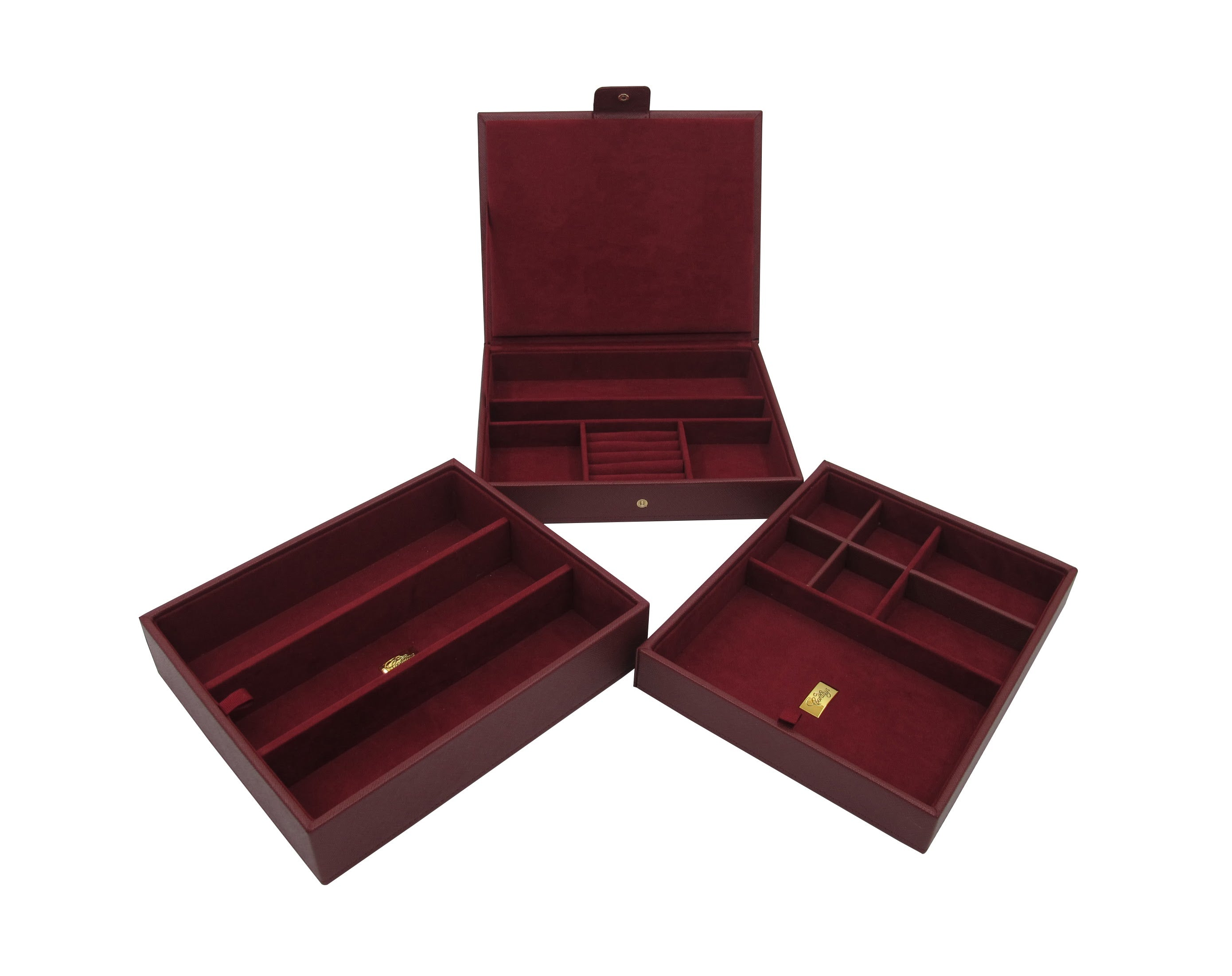 Set of 3 Stacker Trays in Top Quality Leatherette