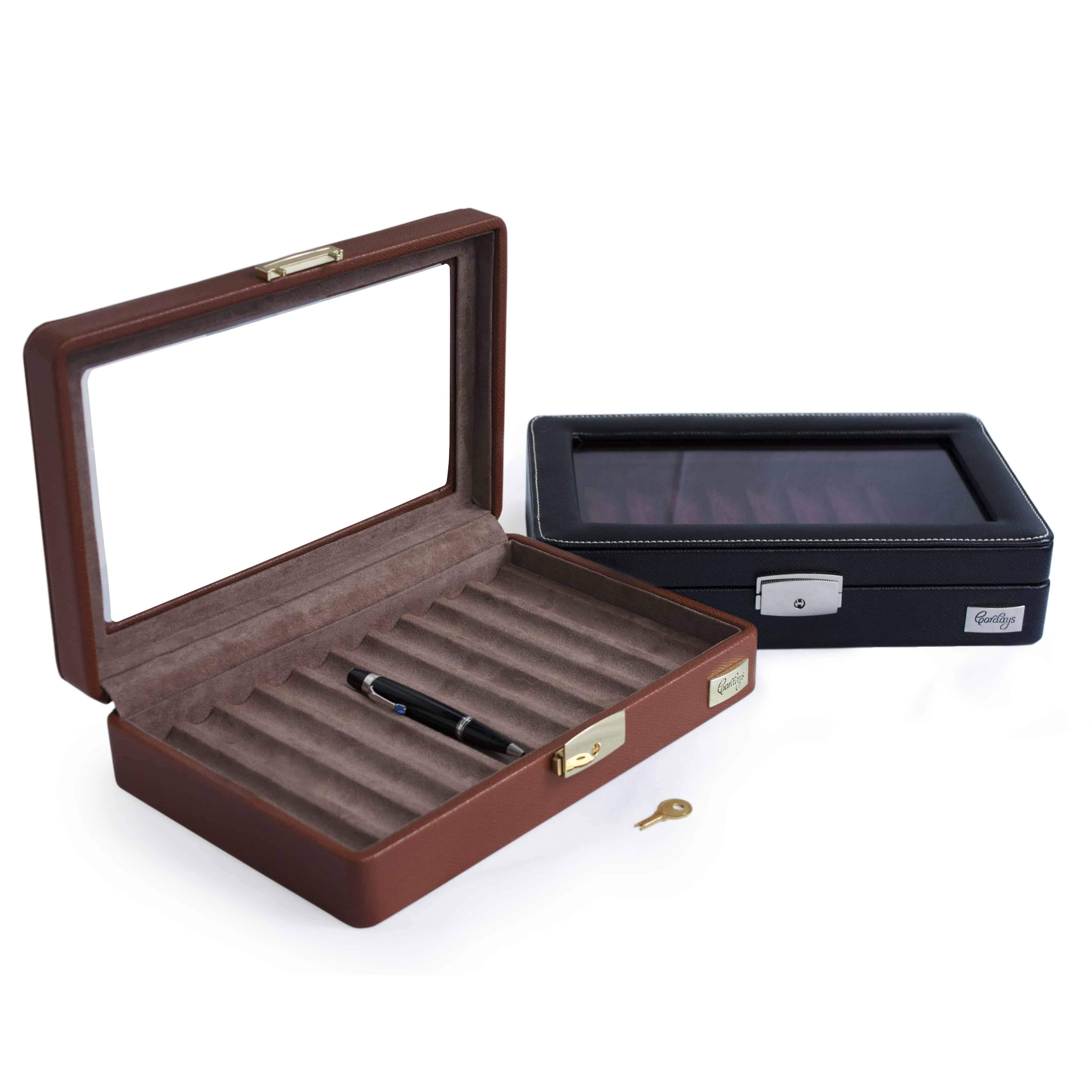 Pen Display Organiser Case with Top Glass Lid in Leatherette