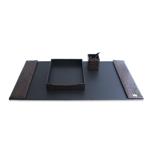 Deluxe Handcrafted 3 Piece Vegan Desk Set