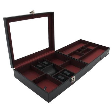 Handcrafted 10 grid Watch Box Suitable for Extra Wide Watches with Glass Lid