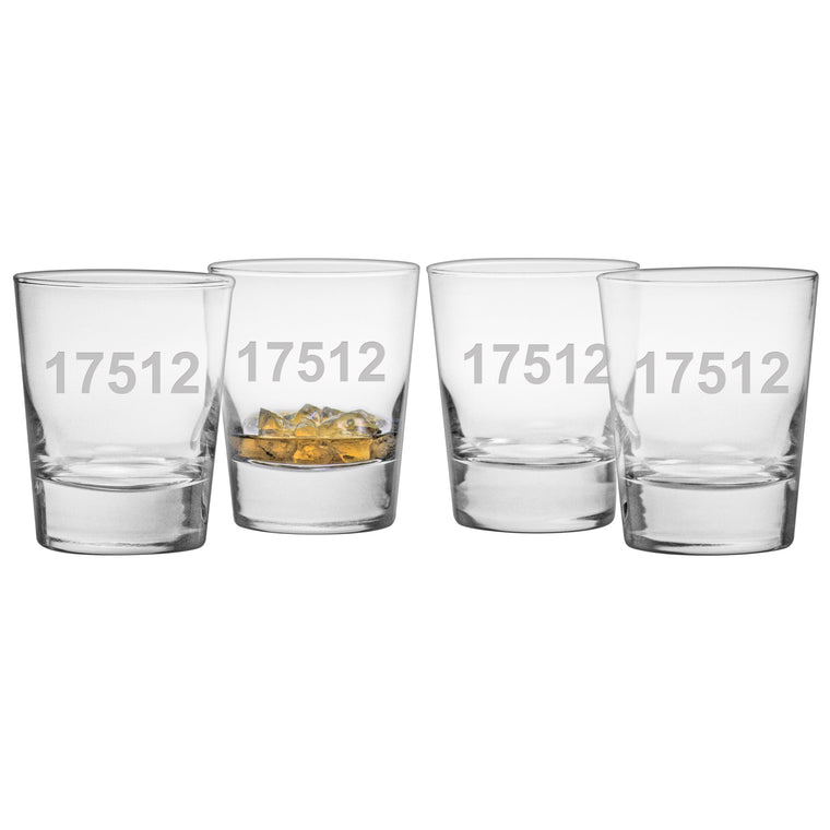 Susquehanna Personalized Indiana + Zip Code Bar Glasses