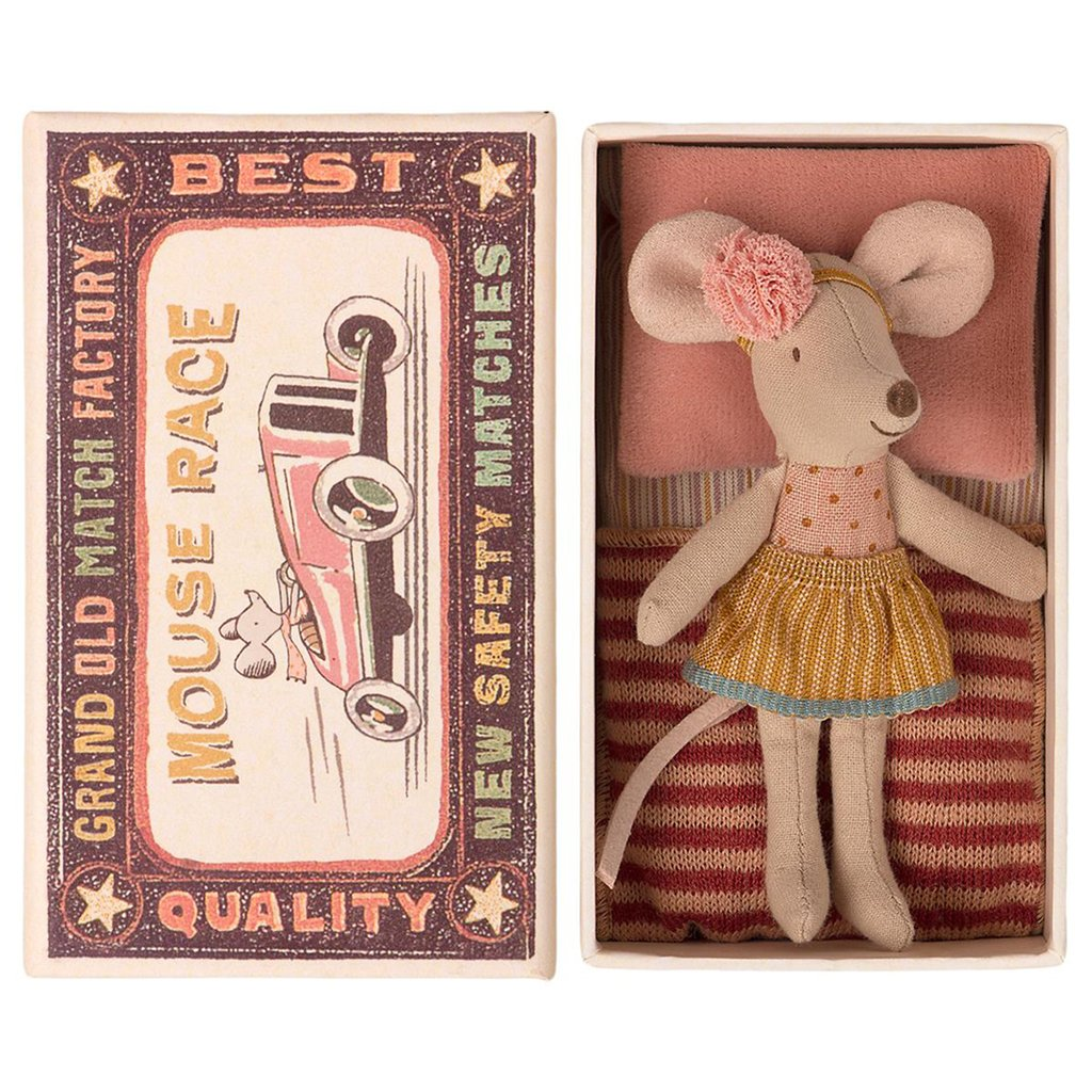 Maileg Little Sister Mouse in Matchbox, Striped Blanket