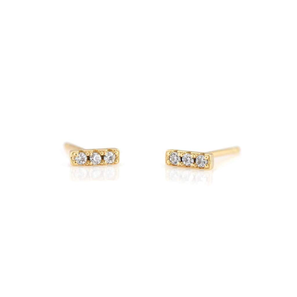 Kris Nations Earrings Bar Dash Pave Stud