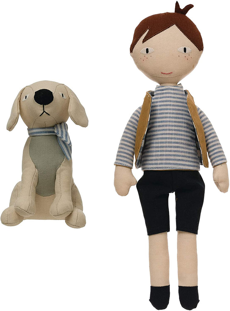 Creative Co-op Boy with Dog Plush Set
