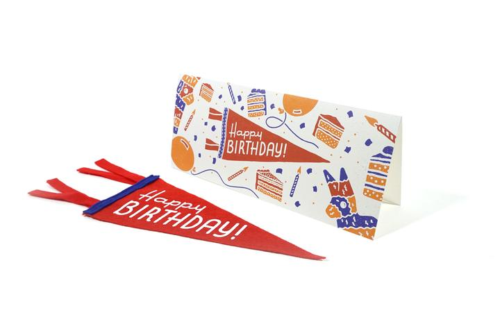 Oxford Pennant, Card + Mini Pennant - Happy Birthday