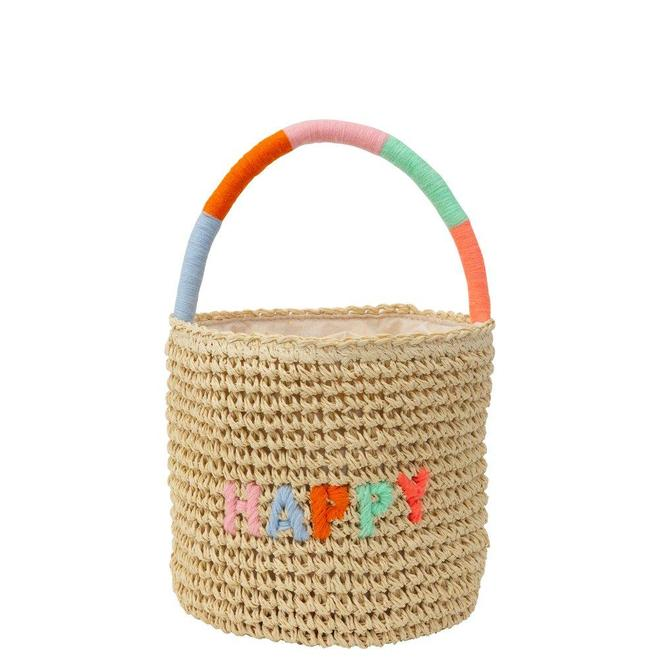 Meri Meri Happy Woven Straw Bag