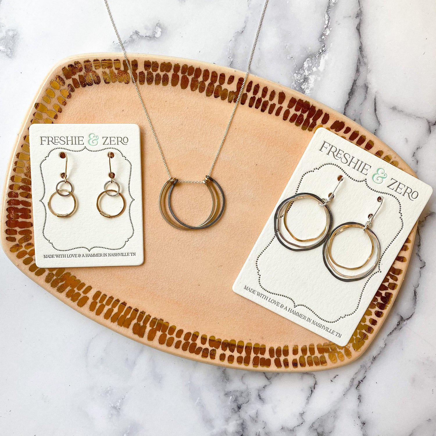 Freshie & Zero Caldera Earrings, mixed metals