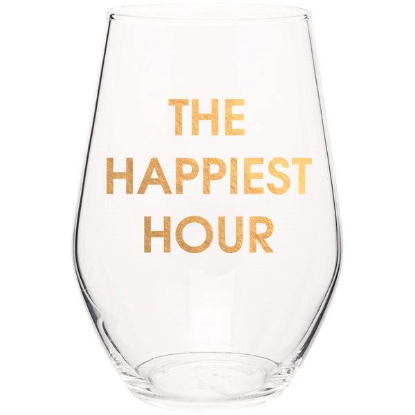 Chez Gagné Happiest Hour Wine Glass