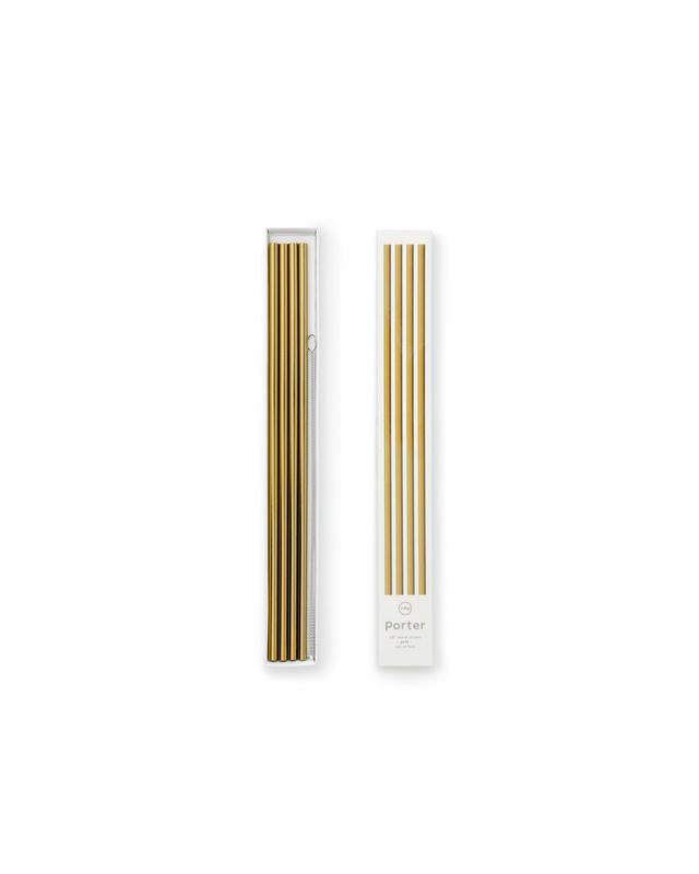 W&P Porter Metal Straws Gold 10""