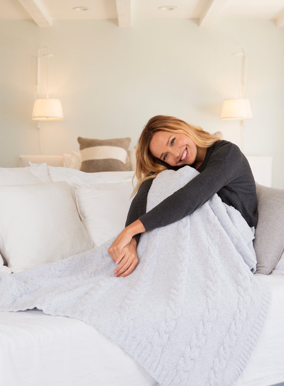 Barefoot Dreams Cozychic Heathered Cable Blanket