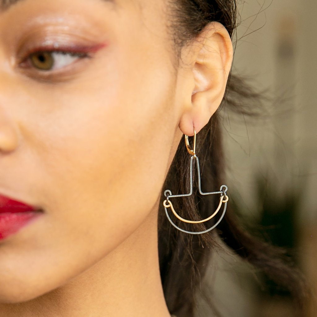 Freshie & Zero Night Recess Earrings, mixed metals