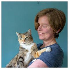 Dittany Rose Jewellery designer with her cat Coral