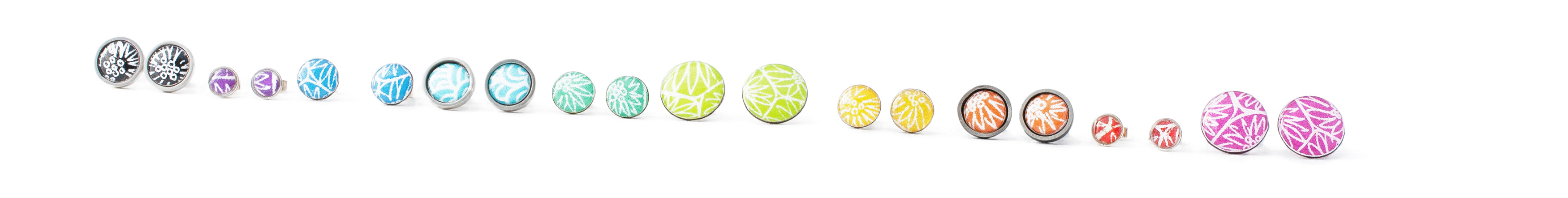 ten pairs of sterling silver stud earrings in bright colours