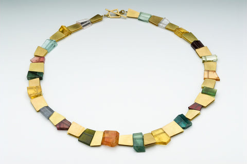 18 carat gold mosaic necklace with tourmaline
