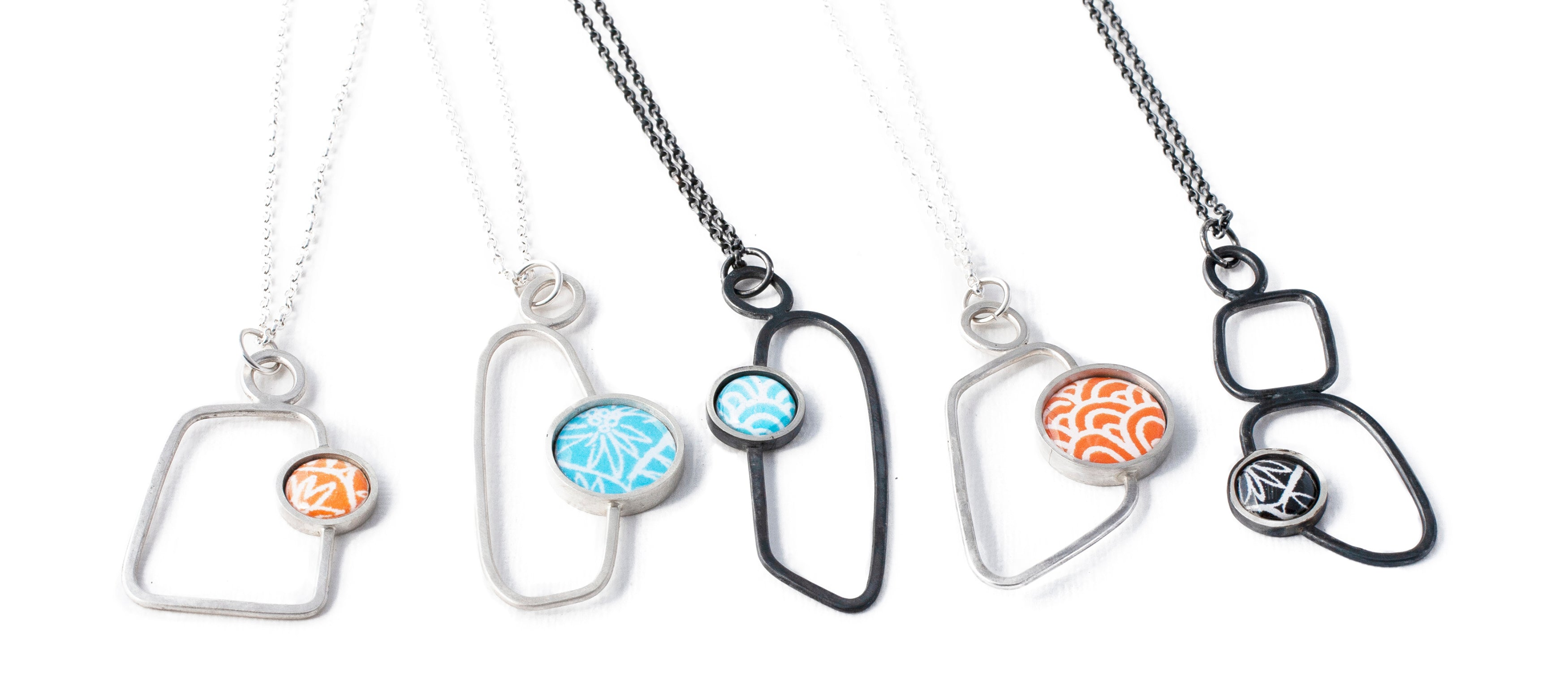 silver and paper necklaces