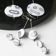 earrings with images of microorganisms for scientists