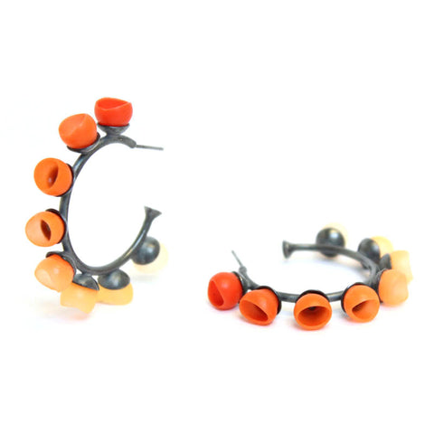 orange fade cup hoop earrings