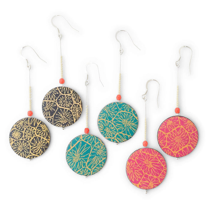 Three pairs of large drop earrings handmade from silver, paper and resin by Dittany Rose