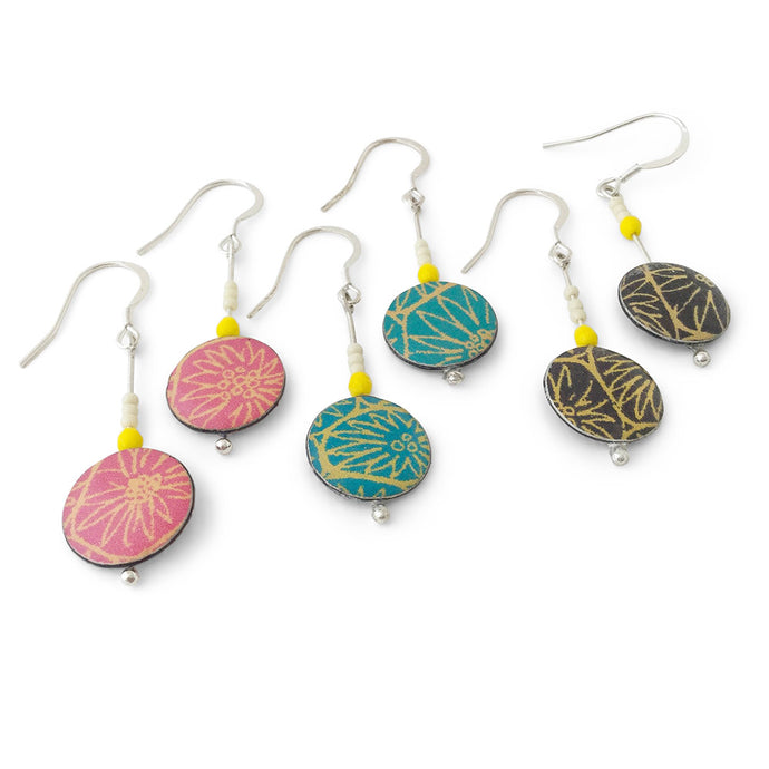 Three pairs of small drop earrings handmade from silver, paper and resin by Dittany Rose