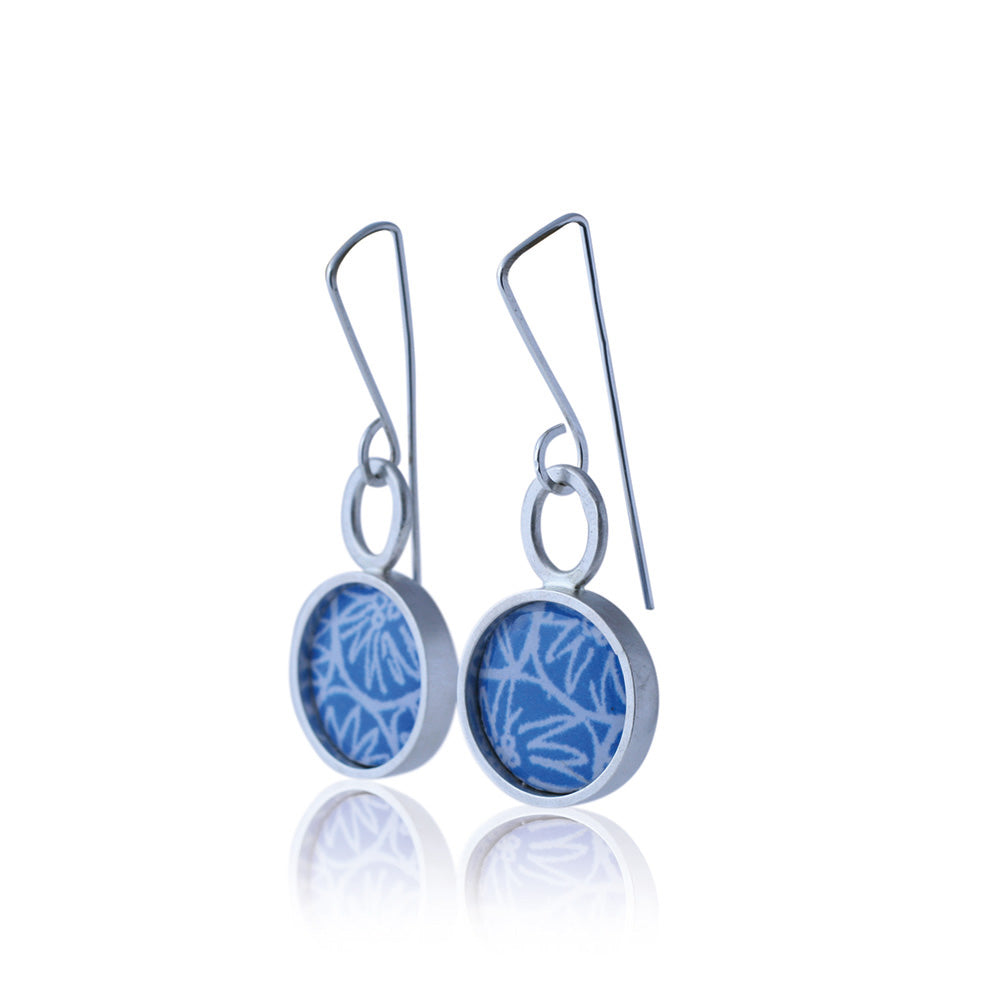 Drop earrings - Wax and Wane - with Anemone pattern