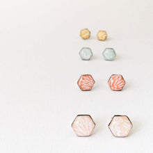 Load image into Gallery viewer, Four pairs of geometric stud earrings handmade from silver, paper and resin by Dittany Rose