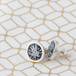 Stud earrings- Flux - with Anemone pattern