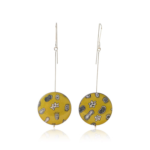 Drop earrings with drawings of microorganisms and bacteria made from silver, paper and resin by Dittany Rose