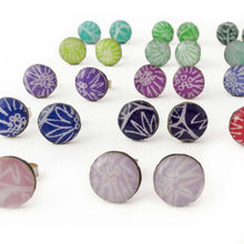 Stud earrings, rare colours - with Anemone pattern