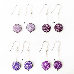 Drop earrings, rare colours - with Anemone pattern