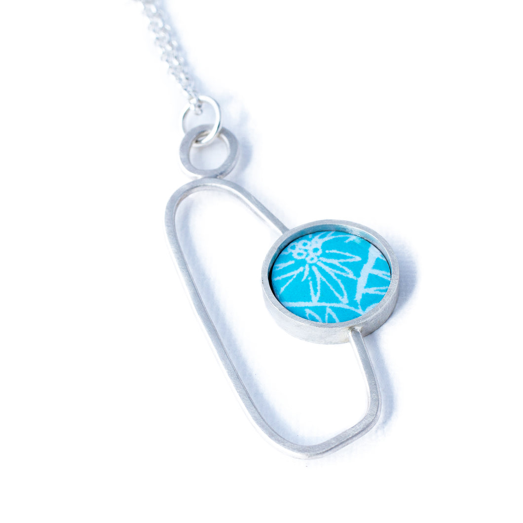 Pendant - Soma - Sky Blue with Anemone pattern