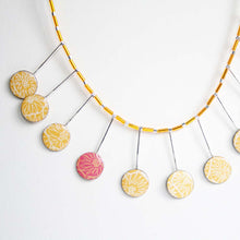 Yellow and pink statement necklace made from silver, card and resin by Dittany Rose