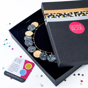 Sterling silver, brightly coloured card and resin statement necklace by Dittany Rose