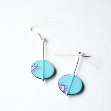 Drop earrings with geometric drawings made from silver, paper and resin by Dittany Rose