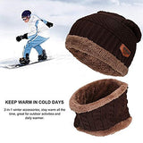 Winter Hat Hat and Scarf Sets for Men & Women Fall/Winter Hat Double Layered Warm Knitted with Nap Cloth Ski Outdoor Sports Unisex Chunky Soft Thicken Crochet Knit Skull Cap Hat Beanie Snood