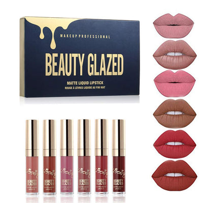 6pcs/Set Liquid Lip Gloss Professional Lip Makeup Tool Velvet Matte Moisturizing Hydrating Nutritious Lipstick Kit