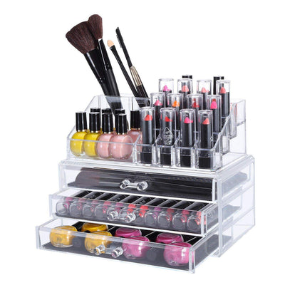 3 Drawers Acrylic Cosmetic Makeup Cosmetics Organizer Clear Storage Container Box Case Multipurpose / 9.4