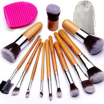 Makeup Brush Set Bamboo Handle Premium Synthetic Kabuki Foundation Blending Blush Eyeshadow Concealer Powder Brush with 1 Brush Egg & 1 Cloth Bag (12+2 Pcs)