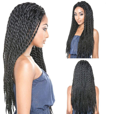 Synthetic Braided Lace Front Wig For Black Women (African American Braided Wigs) Black Color (18 Inch)