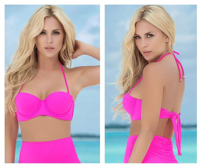 Molded Cup Bikini Top with Removable Straps - Pink
