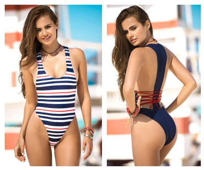 6917 One Piece Swimsuit Lace-Up Back