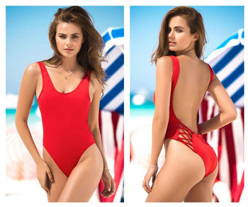 6921 One Piece Swimsuit Criss Cross Back Detail